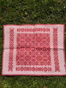 Handwoven hand embroidered mat