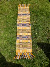 Yellow woven runner with fringe