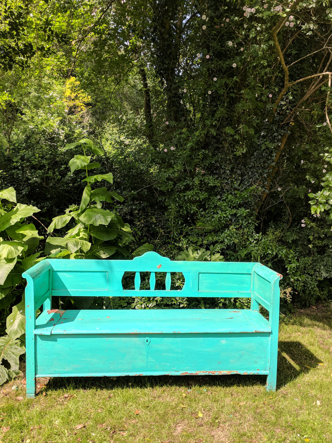 Hungarian painted wood bench with storage