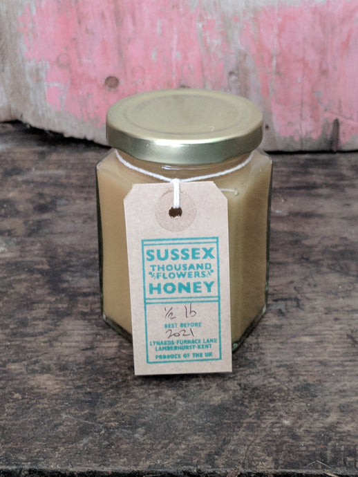Half lb honey, jar of honey, Kent honey, East Sussex honey