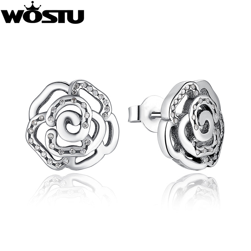 Authentic 925 Sterling Silver Shimmering Rose Stud Earrings With Clear CZ For Women