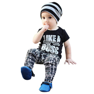 2PCS boys clothes set Toddler Kids Infant Baby Boy Letter T shirt Tops Pants Outfits