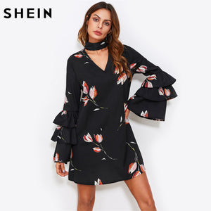 SHEIN Choker Neck Layered Flare Sleeve A Line Dress Black Floral Autumn Dress Long Sleeve V Neck Sexy Elegant Dress