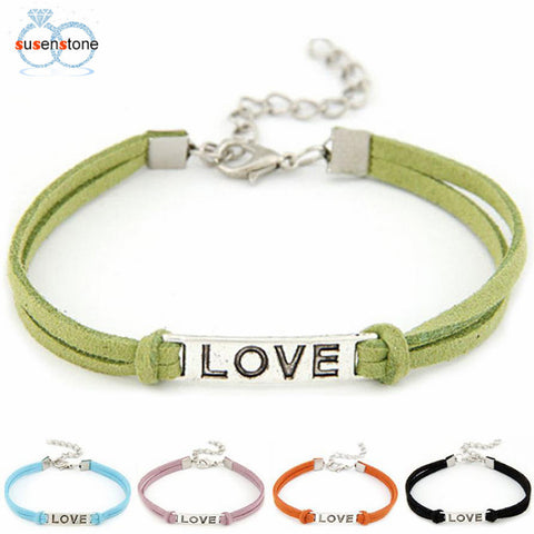 SUSENSTONE 1PC Braided Adjustable Leather Popular Bracelet Women Men Love Handmade Alloy