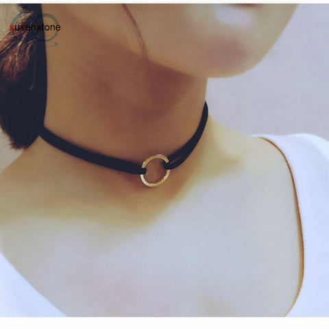 SUSENSTONE New Leather Choker Charm Necklace Vintage Hippy Chocker Leather Necklace