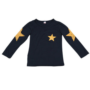2017 Fashion Kids Boy Toddler Baby Shirts Star Pattern Printed Long Sleeve Tops T-shirt