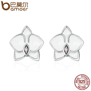 BAMOER Authentic 925 Sterling Silver White Orchid White Enamel & Pink CZ Stud Earrings for