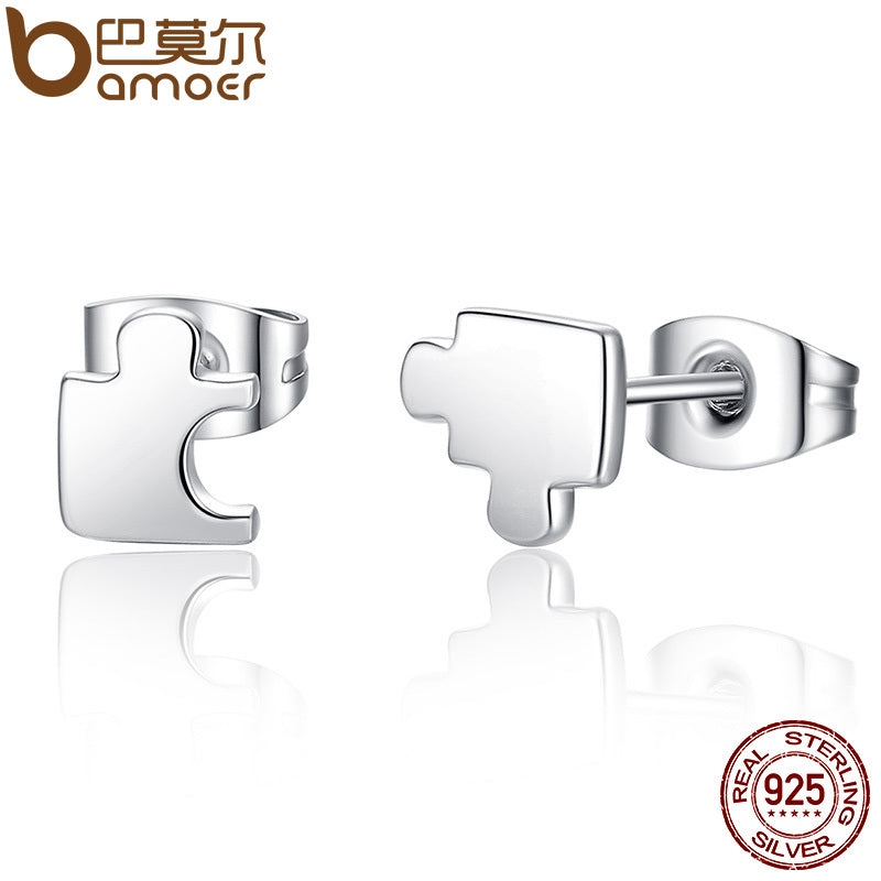 BAMOER New Arrival Genuine 925 Sterling Silver Game Puzzle Stud Earrings, Clear CZ