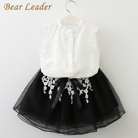 Bear Leader Girls Dress 2018 Casual Summer Style Girls Clothes Sleeveless White Lace