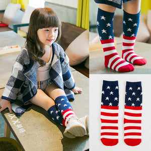 Bear Leader Baby Socks 2017 New Arrivals Fashion American flag Pattern Strip Design for
