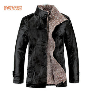 Retro PU Leather Jackets Men's Winter Warm Thick Coats Men Windproof Outerwear Casual Slim