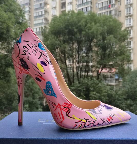 Craylorvans 2018 Specia Graffiti Colorful Women Pumps Sexy Stiletto high heels Spring
