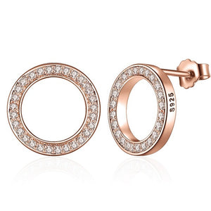 BAMOER Forever Clear CZ 925 Sterling Silver Circle Round Stud Earrings with CZ Jewelry