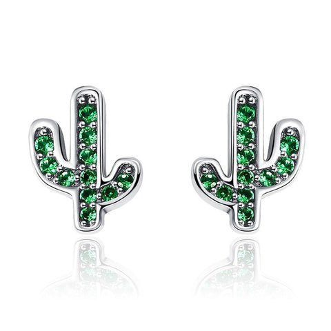 BAMOER Hot Sale 925 Sterling Silver Dazzling Green Cactus Crystal Stud Earrings for