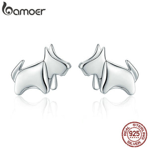 BAMOER Hot Sale 925 Sterling Silver Statement Paper Puppy Dog Small Stud Earrings for