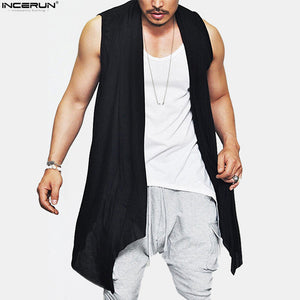 New Summer Men's Vest Long Style Vest Jacket Punk Gothic Sleeveless Shawl Waistcoat