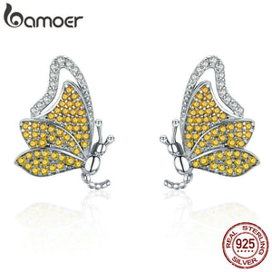 BAMOER 100% 925 Sterling Silver Dancing Butterfly Yellow CZ Exquisite Stud Earrings for