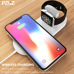 Pzoz Qi Wireless Charger Fast Charging For Apple Watch 3 iwatch iphone X 8 plus 2 In 1