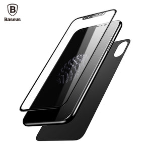 Baseus Front Back Screen Protector For iPhone X Tempered Glass Front Film+Back Cover