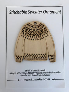 Katrinkles Fair Isle Stitchable Sweater Ornament - Blank