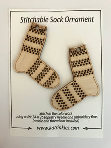 Katrinkles Striped Sock Ornament - Blank