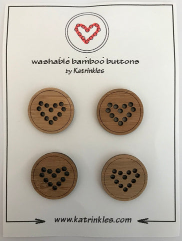 "Katrinkles - heart bamboo buttons 1""- Ida's House"