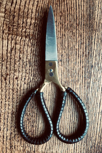 Scissors - Large bonsai style brass and steel with leather trim