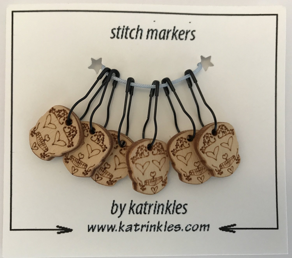 Katrinkles   removable 'Sugar Skull' stitch markers   Ida's House