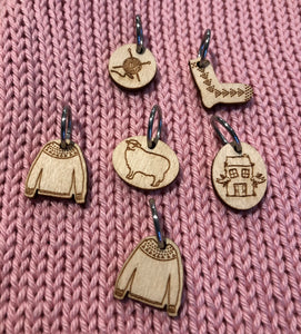 Set of Katrinkles stitchmarkers with silver ring mixed idas house