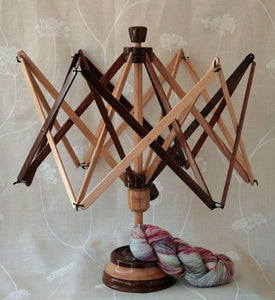 Yarn Swift - beech and rosewood - base - tabletop