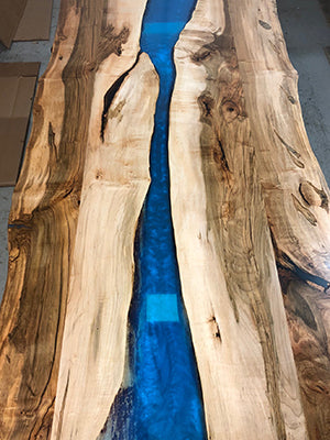 Ambrosia Maple River Table with Blue Epoxy