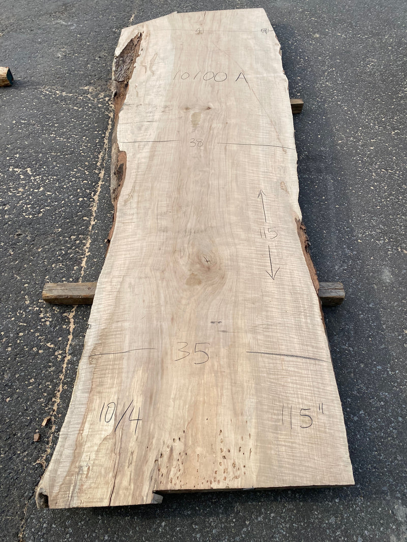 "Curly Maple Live Edge Slab - 2-1/2"" x 38"" x 115"""