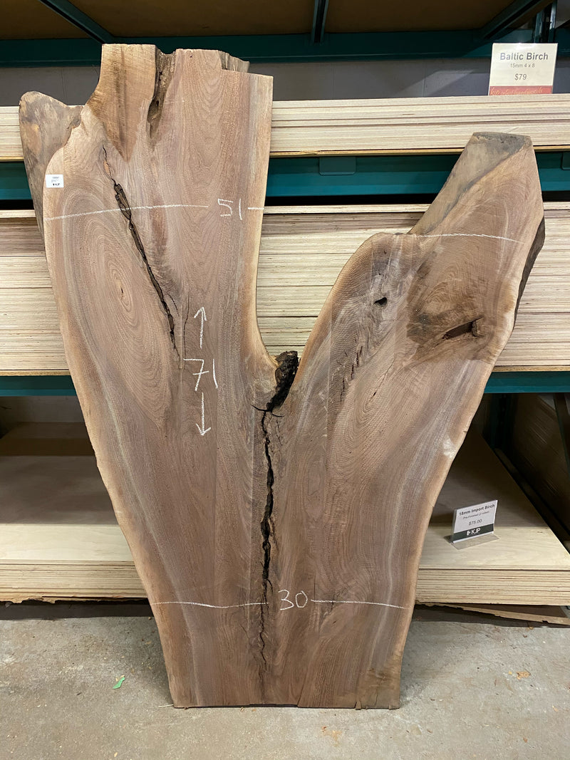 "Live Edge Walnut Slab (Crotch)  -  2"" x 51"" x 71"""