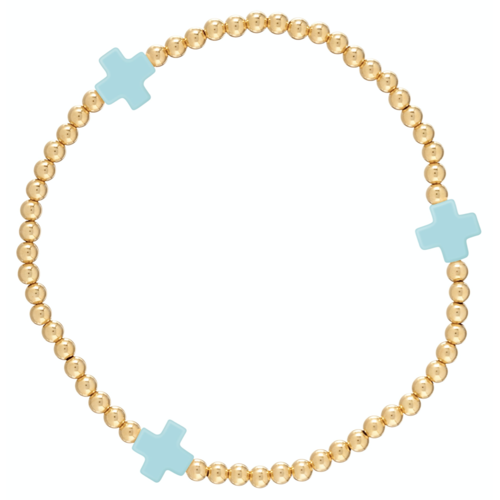Signature Turquoise Cross Gold Pattern 3mm Bead Bracelet