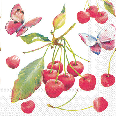 Cherries & Butterfly Cocktail Napkin