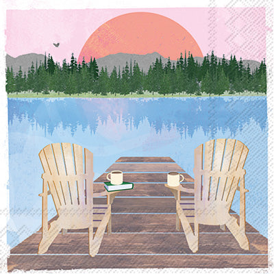 Sunday Lake Chairs Cocktail Napkin