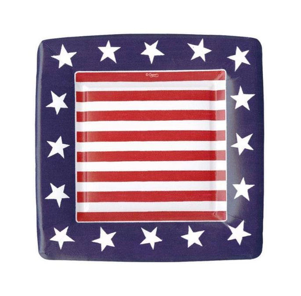 Red, White & Blue Square Salad Plates