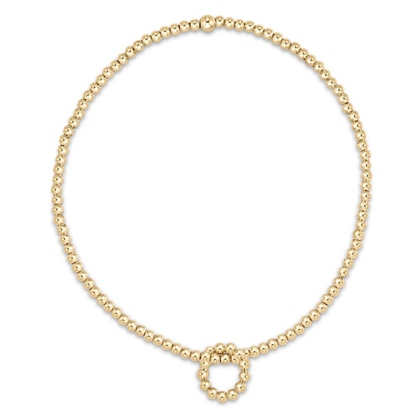 Classic Gold 2mm Bead Bracelet - Classic Beaded Halo Charm
