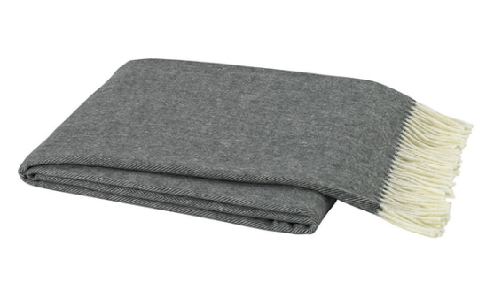 Charcoal Grey Italian Herringbone Throw