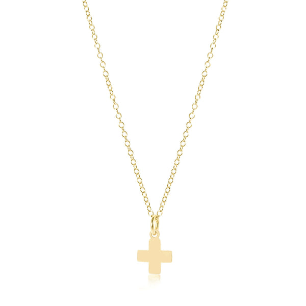 Gold Signature Cross Charm Necklace | 16 inch