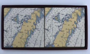 Nautical Map Coaster Set