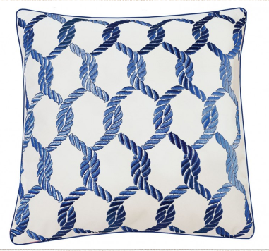 Nautical Knots Pillow White/Navy