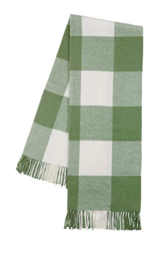 Olive Buffalo Check Throw