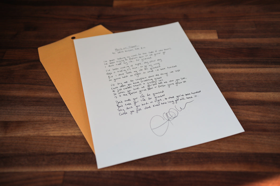 Personalised, Handwritten Lyrics