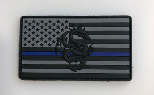 TPG BLACK THIN BLUE LINE PVC PATCH
