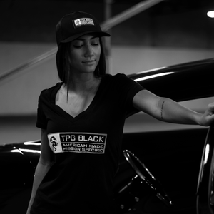 TPG BLACK™ Lady's V-Neck Logo Tee
