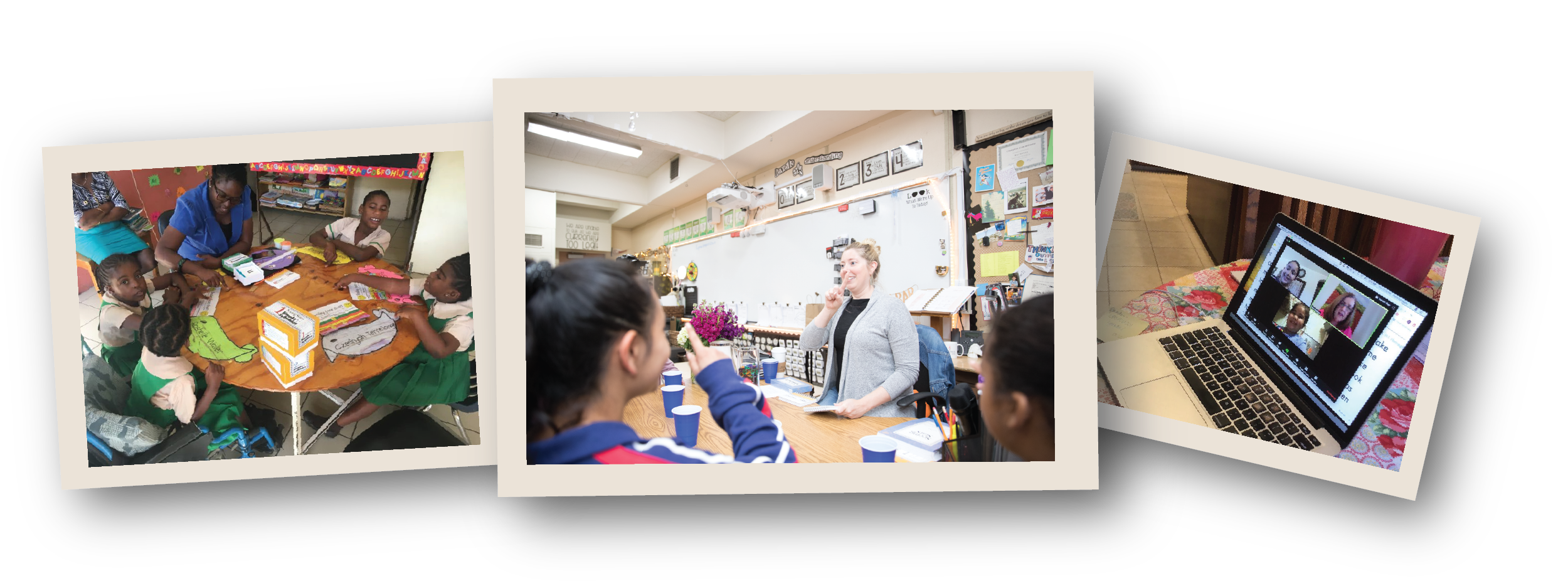 3 photos of teachers and children working together