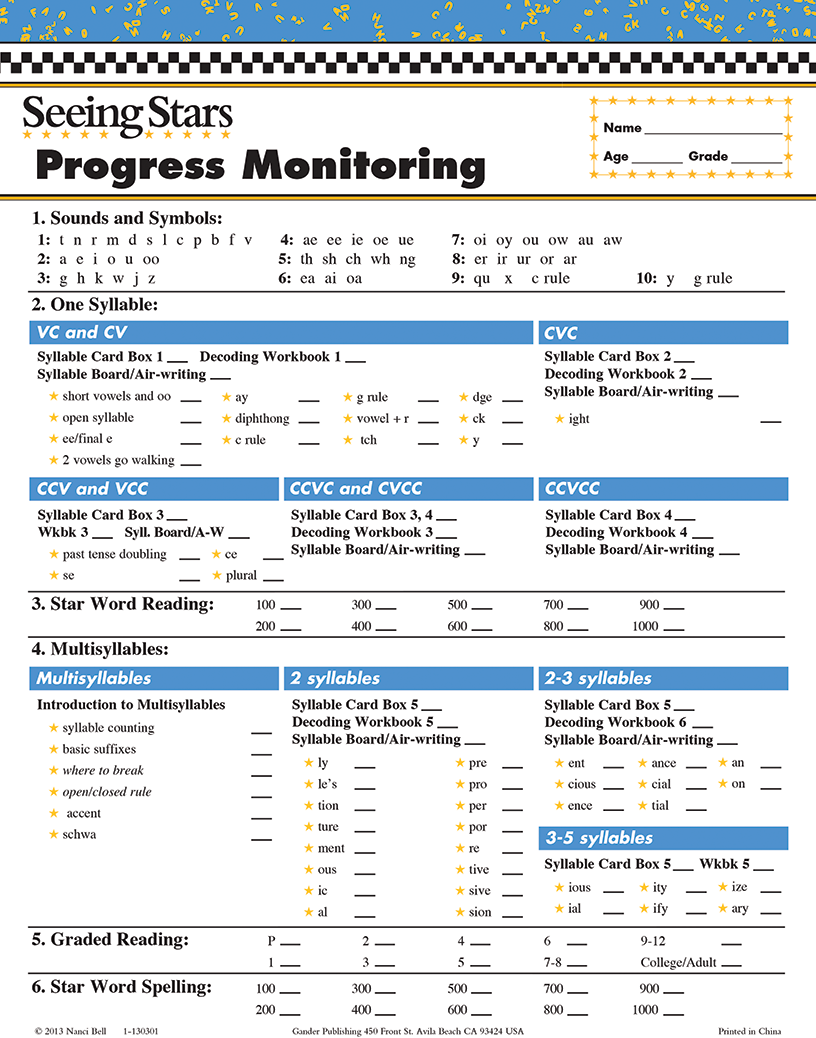 Seeing Stars® Progress Monitoring Charts