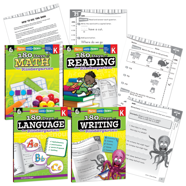 180 Days of Reading, Writing, Language, and Math 4-Book Set