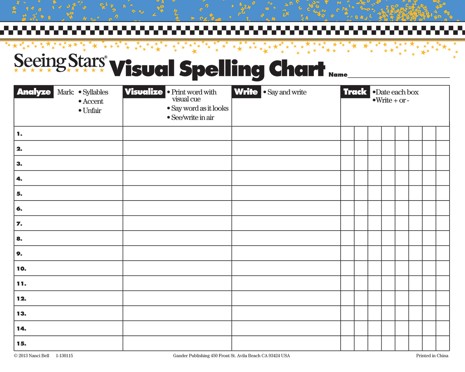 Seeing Stars® Visual Spelling Charts